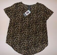 Chelsea & Theodore Womens Shirt Leopard Tan Brown Black Blouse Size XL NWT