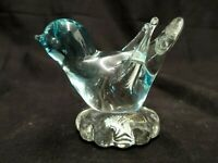 ICET ARTE MURANO ART GLASS CLEAR BLUE BIRD PAPERWEIGHT SCULPTURE HAND BLOWN