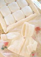 "Baby Jacket with Hood 16 - 26"" & Blanket  Snowflake DK Knitting Pattern"