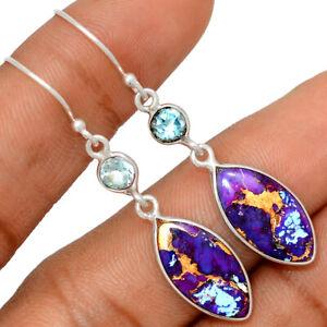 Copper Purple Turquoise, Arizona & Blue Topaz 925 Silver Earrings BE52647