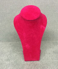 Miniature Jewellery Display Upright Bust (Cerise Pink Suede)