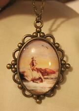 Lovely Ball Clustered Sitting Mermaid with Swirled Tail Brasstone Cameo Necklace