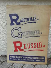 rare AFFICHE POLITIQUE circa. 1950 RGR RASSEMBLEMENT DES GAUCHES REPUBLICAINES