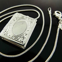Necklace Pendant Chain Real  925 Sterling Silver S/F Engraved Antique Locket 18""