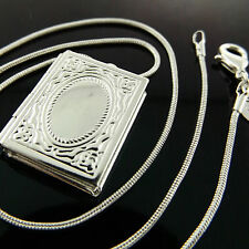 A863 GENUINE REAL 925 STERLING SILVER S/F ANTIQUE LOCKET PENDANT NECKLACE CHAIN