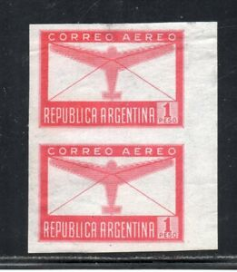 1940 ARGENTINA AIRMAIL 1p AIRPLANE IMPERF PAIR MNH VARIETY, HIGH VALUE
