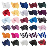 Mens Tie Hanky Set Solid Plain Plaid Patterned Floral Spotted FREE Pocket Square