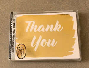 NEW Sealed 20 amscan Gold Blank Thank You Cards *Free Shipping*