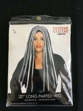 "Women's 20"" long parted black white wig costume culture by Franco NEW one size"