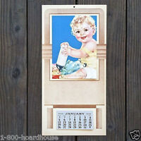 Vintage Original DOLLY'S BREAKFAST Baby Promotional Calendar 1930s Full Pad NOS