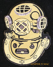 DEEP SEA DIVER PATCH USS MARK V HELMET GOLD ON IRON OUTLINE US NAVY VETERAN GIFT