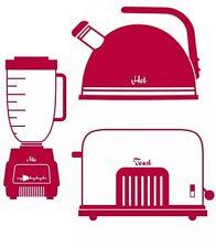 Lot 3 STICKERS adhésif mural CUISINE déco Blender Grille pain Cafetière rouge