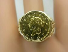 1852 O $1 Dollar US Liberty Vintage 14k Yellow Gold Ring Nugget Style Pinky sz 8
