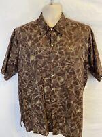 Tori Richard Mens Large Cotton Lawn Koi Fish Brown Pattern Graphic Button Shirt