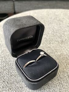 Tiffany and Co Diamond Platinum Ring - Solitaire plus band