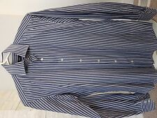 Hugo Boss Men Shirt Smart Dress Regular Fit 38/15 Navy White Stripe