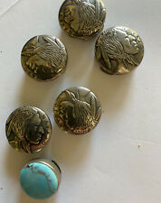 Set 6 Faux Navajo Indian Head Nickel Butto Covers Real Turquoise Excellent Fr/Sh