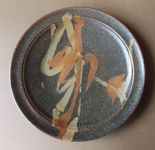 *27cm Wide Signed Brown Glazed & Decorated Australian Pottery Plate