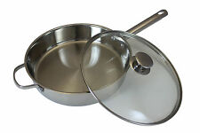 """CONCORD 11"""" 18/10 Triply Stainless Steel Frying Pan Chicken Fryer Saute Cookware"""