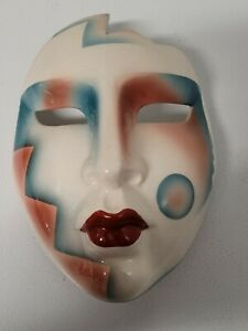 Vintage 1980s About Face Clay Flapper Masquerade Wall Mask Made in San Francisco
