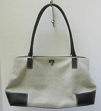 LAMBERTSON TRUEX Black Leather & Canvas Shoulder Tote Handbag MINT