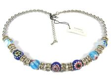 Park Lane Silver Tone & Blue Murano Bead & Crystal Necklace (22)