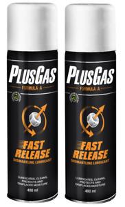 Plus Gas Releasing Fluid Aerosol Dismantle Lubricant Nuts & Bolts Kit 400ml X 2