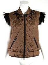 BRUNELLO CUCINELLI NWT Brown Quilted Feather & Jewel Embellished Vest 42