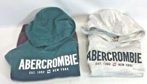 Lot Of 2, Abercrombie Kids Boys size 9/10 Hooded Pull Over Fleece Sweatshirt