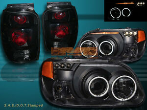 BLACK 98-01 FORD EXPLORER CCFL HALO PROJECTOR HEADLIGHTS w/ LED + TAIL LIGHTS