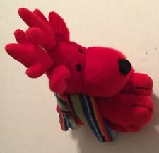 Russ Red Reindeer with Striped Scarf Named Grog