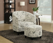Accent Chair with Ottoman Off White Fabric French Script Pattern Armchair