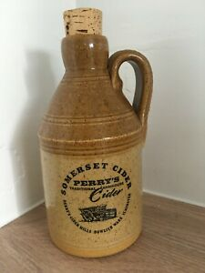 Somerset CIDER FLAGON Stoneware   Advertising PERRY'S Cider   Vintage Pottery