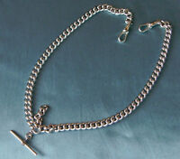 QUALITY H DUTY ANTIQUE STYLE OLD SILVER LOOK DOUBLE ALBERT POCKET WATCH CHAIN s