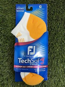 FootJoy TechSof Tour Womens Low Cut Sport Golf Socks White Orange Ladies 6-9 NEW