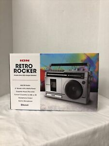 ION Audio Retro Rocker Portable Boombox Speaker Bluetooth AM/FM Radio Cassette