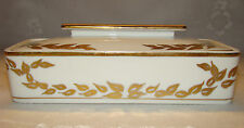Vintage White Gold Trim Porcelain Covered Divided Box Czechoslovakia 7820 / 1851