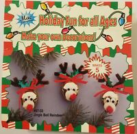 VTG Jingle Bell Reindeer Christmas Ornament Kids Craft Kit Merri Mac Makes 5