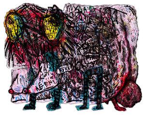 Original Justin Aerni 2019 painting contemporary outsider dark art : STILLBORN