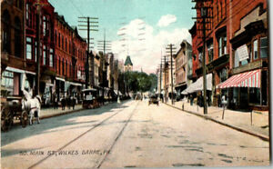 S21.1837 Vintage Wilkes Barre PA postcard S Main St Horse Buggy 1907