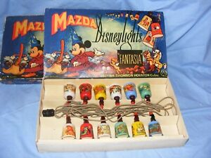 Vintage Disney Mazda Fantasia Christmas RARE Lights WORKING Boxed