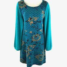 La Fiancee du Mekon Dress Large Turquoise Blue Floral Sheath Shift Long Sleeve