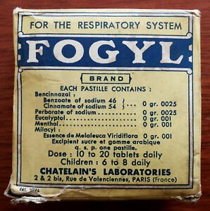 Fogyl For The Respiratory System, Chatelain's Lab's. Antique Box Tin & Paperwork