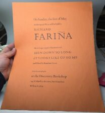 Incredible 1966 RICHARD FARIÑA San Francisco, Calif. BOOK SIGNING Broadside!!