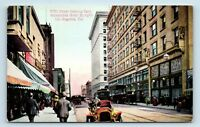 Los Angeles, CA - 1900s STREET SCENE POSTCARD - 5TH ST E - HOTEL & OLD CAR
