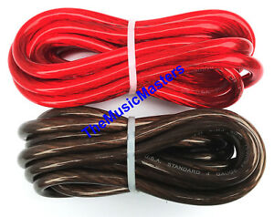 4 Gauge 5' ft each Red Black Auto PRIMARY WIRE 12V Auto Wiring Car Power Cable