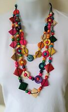 Handcraft Bohemian Necklace - Multi coloured Coconut Shell & Wooden Beads