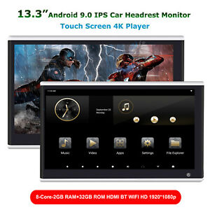 """2x13.3""""Android 10 Touch Screen Car Headrest Sreen Monitor 4K HDMI WIFI USB BT SD"""