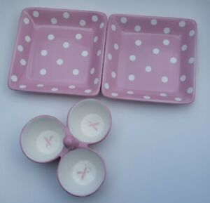 """THE PAMPERED CHEF TRIO BOWL PINK/WHITE DOTS """"HELP WHIP CANCER"""" WITH 2 PLATES"""