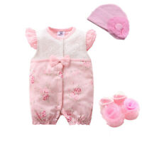 Newborn Baby Girls clothes bodysuit & hat party daily clothes baby shower gift